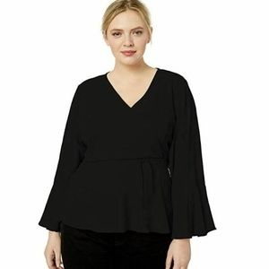 City Chic Tops - City Chic S/16 Black Tied Wrap Blouse 11AM43